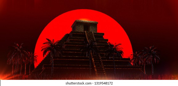 Mexican Mayan Aztec Pyramid in front of big red blood super moon. halloween vampire magic ethnic party background 3d rendered illustration.