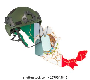 Mexican military force, army or war concept. 3D rendering isolated on white background