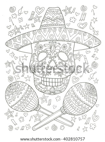 Mexican Musician Sugar Skull Coloring Page Stock Illustration