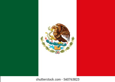 Mexican National Flag With Eagle Coat Of Arms