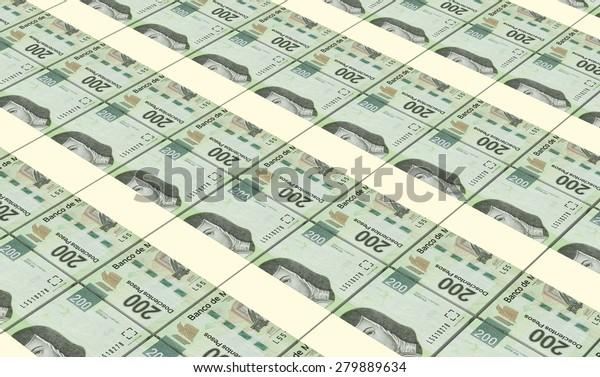 Mexican Pesos Bills Stacks Background Stock Illustration