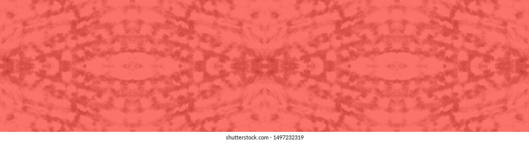 Mexican Seamless Print. Bohemian Repeat Pattern. Tribal Decorative Style. Ikat Summer Background. Tribal Folk Motif. Coral, Red Mexican Seamless Print.