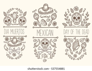 Mexican sketch doodle collection, hand drawn label elements. Skull, sugar skull, sombrero, chili, cactus, lime, lemon, moustaches, bones. Native traditional attributes.