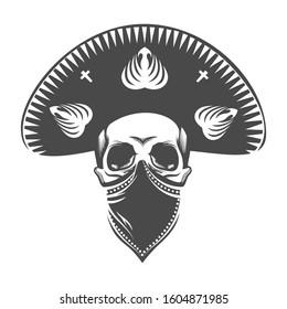 Mexican skull in sombrero. Bandit skull in hat and bandanna.