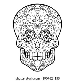 Mexican skull. Sugar skull, Day of Death  illustration. Black and white sugar skull. Coloring page