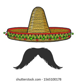 Mexican sombrero hat and mustache sketch engraving raster illustration. T-shirt apparel print design. Scratch board style imitation. Black and white hand drawn image.