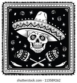 Mexican sugar skull. Raster version.