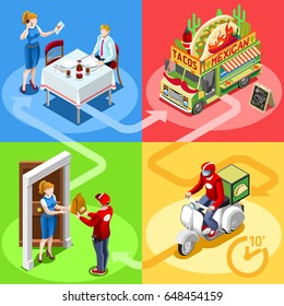 Mexican take away food truck and white car or van for burrito fast home delivery infographic.illustration Isometric people delivery man processing online order at the client customer door