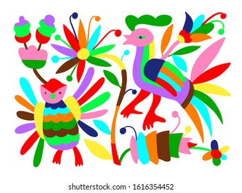 mexican tribal embroidary otomi style pattern with bird, animal and flower, raster version illustration
