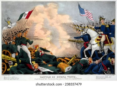 Mexican-American War. Battle of Buena Vista--Fought February 23d, 1847--The American Army under Genl. Taylor were completely victorious. Color Lithograph, James Bailie, 1847
