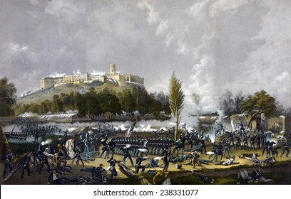 Mexican-American War. The storming of Chapultepec, Sept. 13th 1847 / drawn on stone, printed in colours by Sarony & Major. Color Lithograph, Currier & Ives, 1848