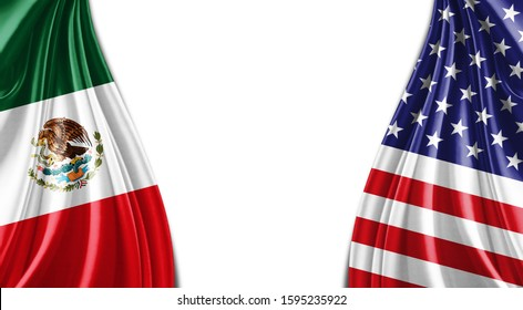 Mexico and American flag of silk with copyspace for your text or images and white background -3D illustration