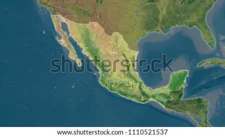 Mexico Area Map Azimuthal Equidistant Projection Stock Illustration ...