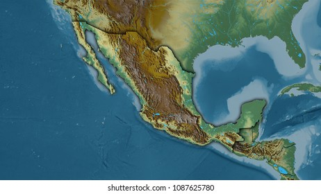 Mexico area on the topographic relief map in the stereographic projection - raw composition of raster layers with dark glowing outline