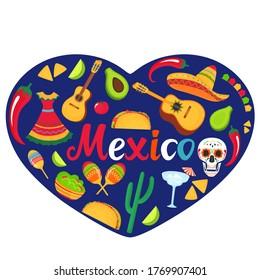 Mexico banner. Sombrero, guitar, sugar skull, cactus, guacamole, tacos. Decorations for national Mexican celebrations. Cinco de Mayo. Day of the Dead