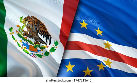 Mexico and Cape Verde flags. 3D Waving flag design. Mexico Cape Verde flag, picture, wallpaper. Mexico vs Cape Verde image,3D rendering. Mexico Cape Verde relations alliance and Trade,travel,tourism