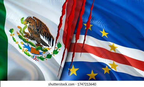 Mexico and Cape Verde flags with scar concept. Waving flag,3D rendering. Mexico and Cape Verde conflict concept. Mexico Cape Verde relations concept. flag of Mexico and Cape Verde crisis,war, attack