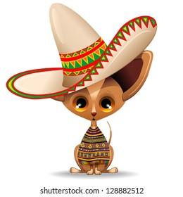Mexico Chihuahua Puppy Dog Cartoon with big Sombrero