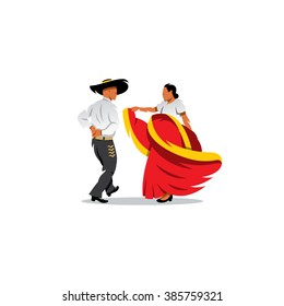 Mexico Dancers Participates at the Cinco De Mayo festival. Mexican couple dancing. Branding Identity Corporate Logo isolated on a white background