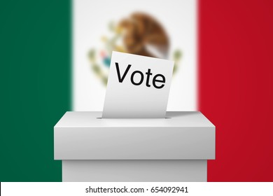 Mexico election ballot box and voting paper. 3D Rendering