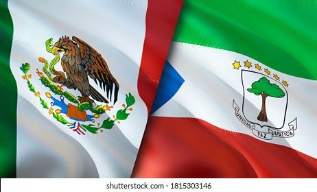 Mexico and Equatorial Guinea flags. 3D Waving flag design. Mexico Equatorial Guinea flag, picture, wallpaper. Mexico vs Equatorial Guinea image,3D rendering. Mexico Equatorial Guinea relations