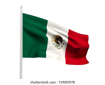 Mexico flag floating in the wind with a White sky background. 3D illustration.