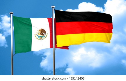 mexico flag with Germany flag, 3D rendering