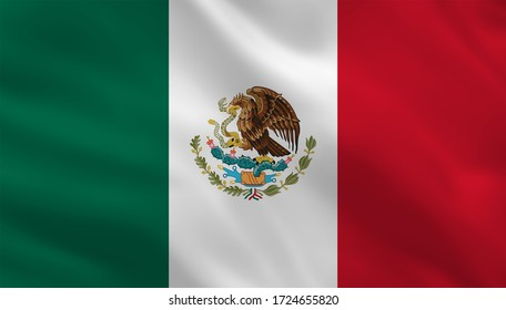 Mexico flag illustration with official proportion