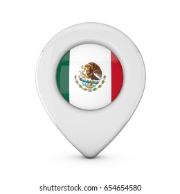 Mexico flag location marker icon. 3D Rendering