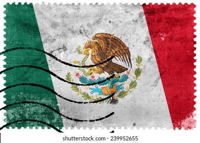 Mexico Flag - old postage stamp