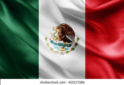 Mexico flag of silk