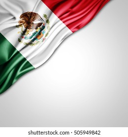 Mexico flag of silk with copyspace for your text or images and white background-3D illustration