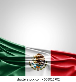Mexico flag of silk with copyspace for your text or images-3D illustration