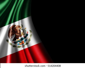 Mexico flag of silk with copyspace for your text or images and black background-3D illustration