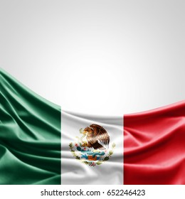Mexico flag of silk with copyspace for your text or images and white background -3D illustration