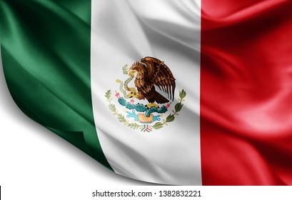 Mexico flag of silk-3D illustration