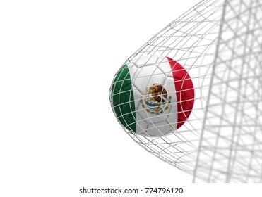 Mexico flag soccer ball scores a goal in a net