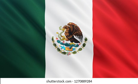 Mexico flag is waving 3D animation. Symbol of Latin, Mexico national on fabric cloth 3D rendering in full perspective.