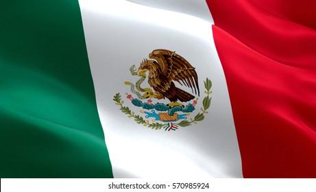 Mexico flag. Waving colorful Mexico flag