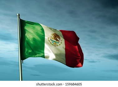 Mexico flag waving in the wind