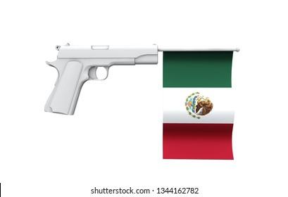Mexico gun control concept. Hand gun with national flag