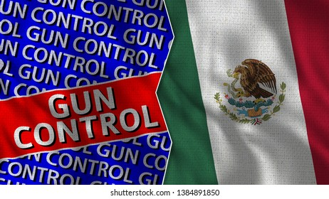 Mexico and Gun Control Flag Together - 3D illustration Fabric Texture