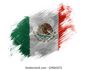 Mexico. Mexican flag painted with brush on white background