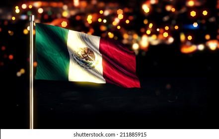 Mexico National Flag City Light Night Bokeh Background 3D