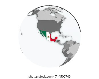 Mexico on political globe with embedded flags. 3D illustration isolated on white background.