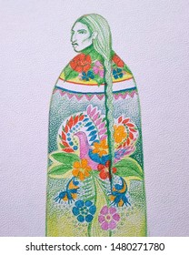 Mexico, San Luis Potosi. Julio 2019, pencils and watercolor. This are a series of illustrations based on Mexican culture, this one represents the typical Huichol dress, a hand crafted textile art.