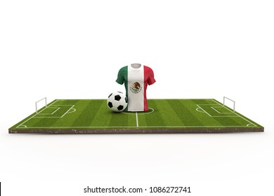 Mexico soccer shirt national flag on a football pitch. 3D Rendering
