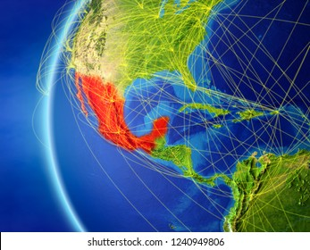Mexico from space on model of Earth with international network. Concept of digital communication or travel. 3D illustration. Elements of this image furnished by NASA.