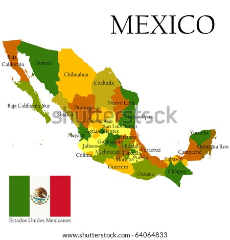 Mexico United States Of Administrative Map Stock Illustration