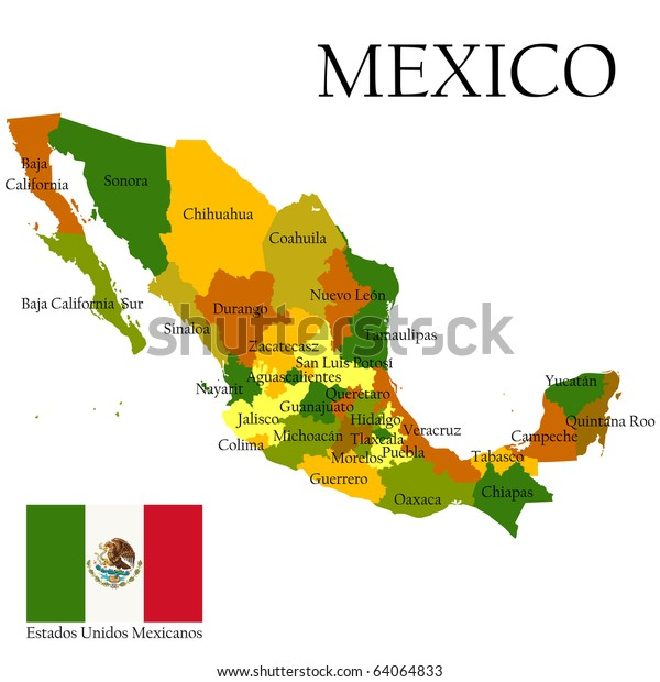 Mexico United States Administrative Map Flag ...